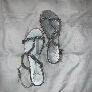 STUART WEITZMAN Silver Crystal Sandals